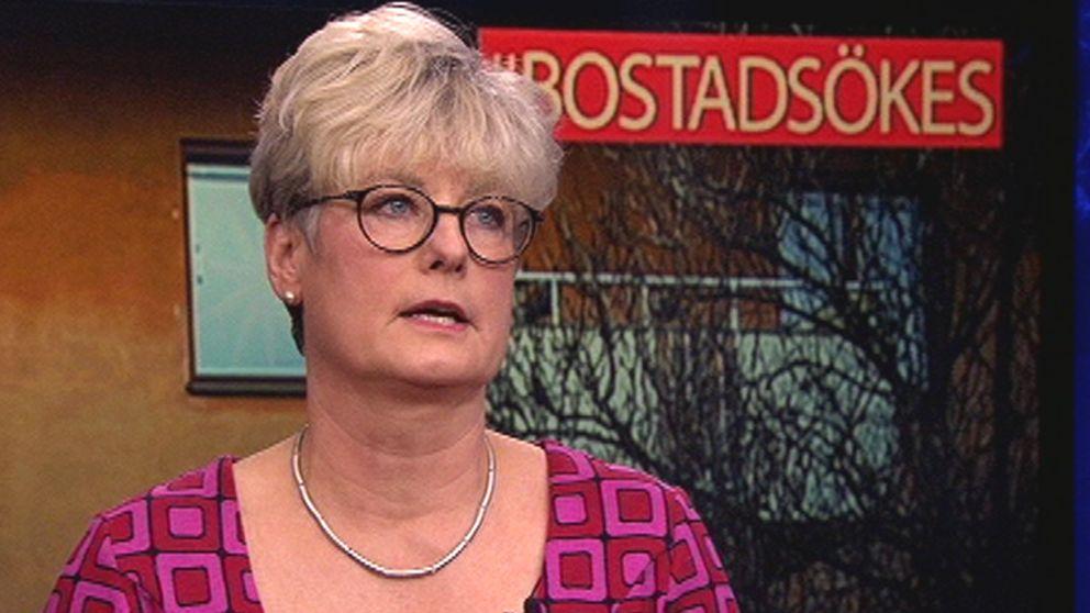 Marie Linder, ordförande för Hyresgästföreningen, i en debatt i Aktuellt.