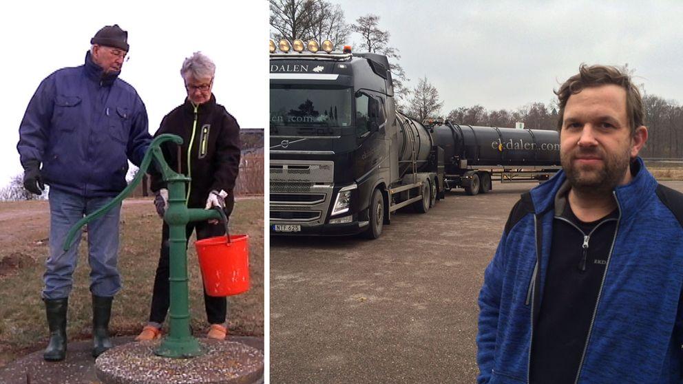 Ett par på Öland pumpar vatten från en brunn. En man kör tankbil med vatten till Öland.