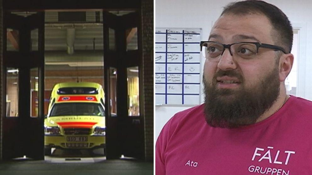 Delad bild, till vänster en ambulans och tillhöger Ata Hosseini, fältassistent i Rinkeby-Kista.