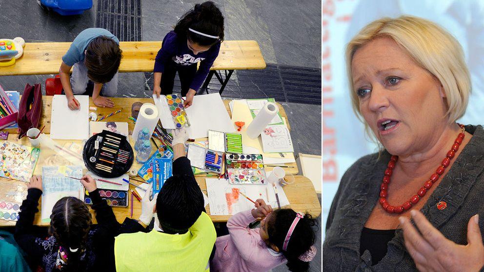Flyktingbarn ritar teckningar vid ett bord. Till höger en bild på Elisabeth Dahlin, generalsekreterare för Rädda Barnen.
