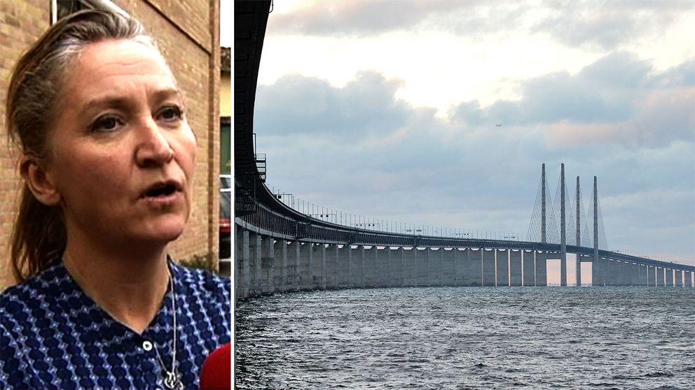 Författaren Lisbeth Zornig Andersen och en bild på Öresundsbron.