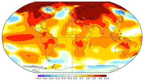 Nasas karta visar hur det norra halvklotet har haft de största avvikelserna i temperatur under februari 2016, jämfört med referensperioden 1951-1980.