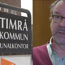 Montage med skylten utanför Timrå kommuns kommunalkontor och Per-Arne Frisk (S), socialnämndens ordförande.