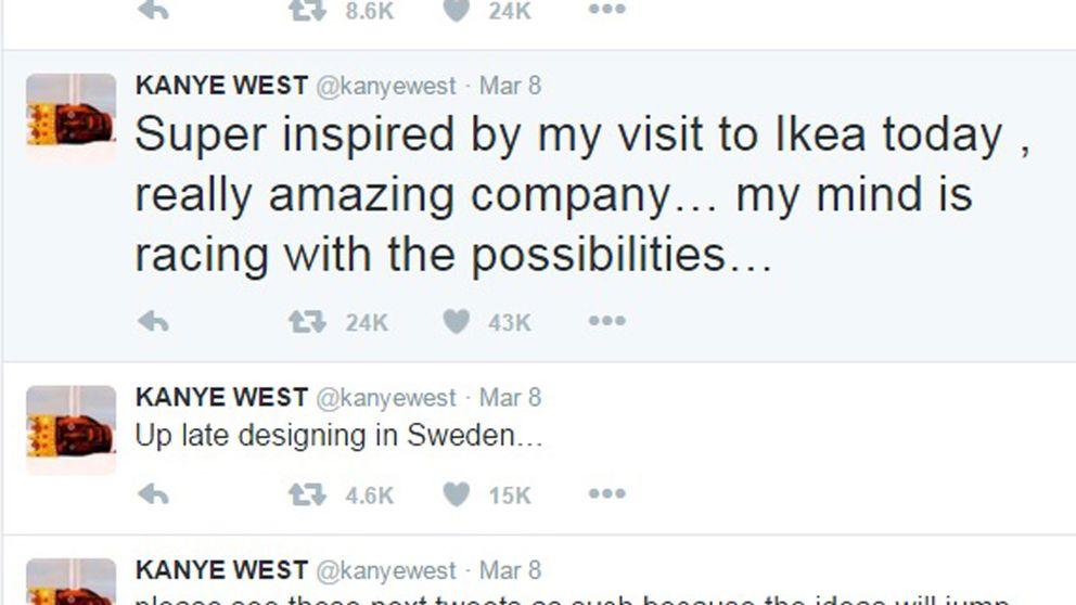 Kanye Wests uppdateringar på Twitter under sverigebesöket.