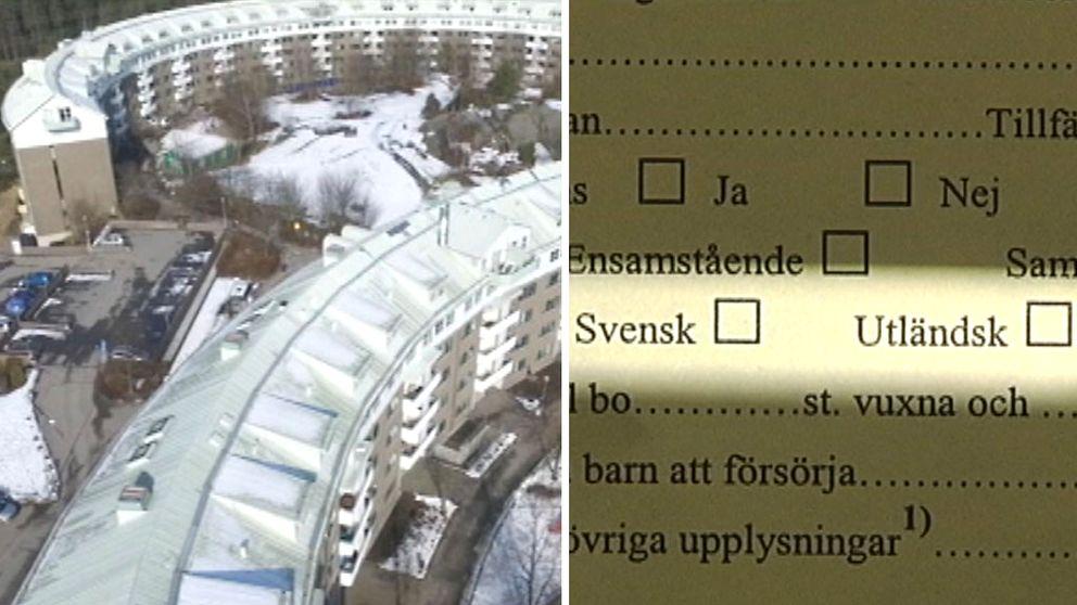 """I formuläret ska du fylla i om du är """"svensk"""" eller """"utländsk"""" och även vilken nationalitet du har och hur länge du har bott i Sverige."""