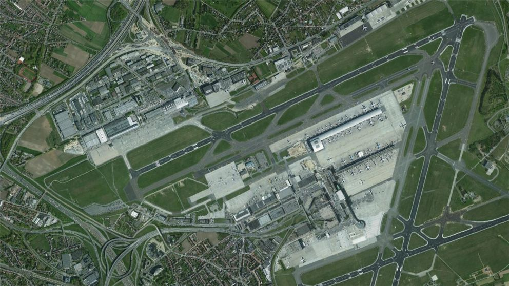 Satelitbild över den belgiska flygplatsen Zaventem.