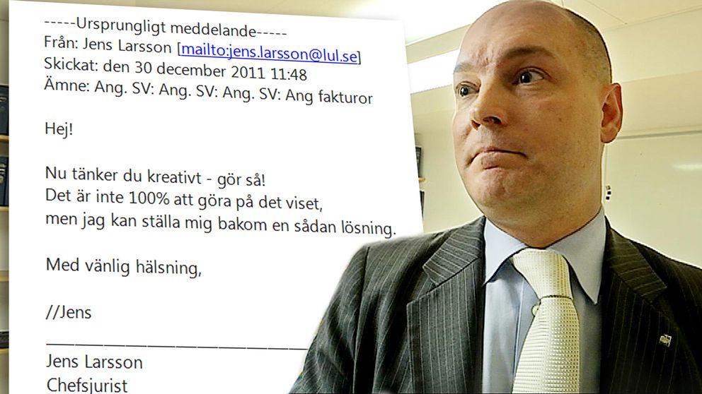 """Jens Larsson ser pressad ut. Ett mail beskriver hur Jens Larsson skriver att """"Nu tänker du kreativt – gör så! Det är inte 100% att göra på det viset, men jag kan ställa mig bakom en sådan lösning."""""""