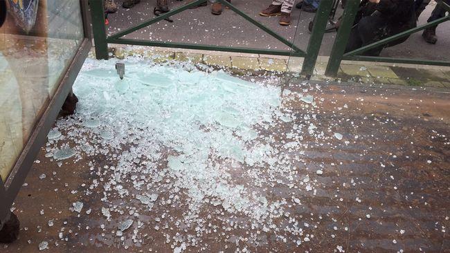 Spårvagnskuren vid Mesierm, där polisen grep den misstänkte mannen.