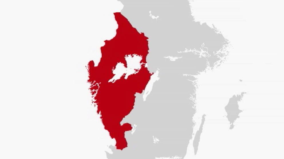 En karta över förslaget på den nya regionen Värmland ska ingå i tillsammans med Västra Götaland och Halland.