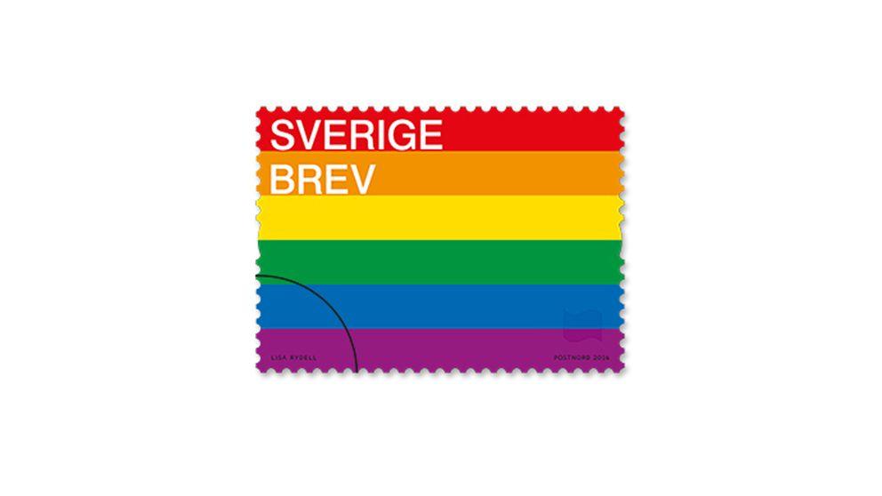 Prideflaggan som frimärke.