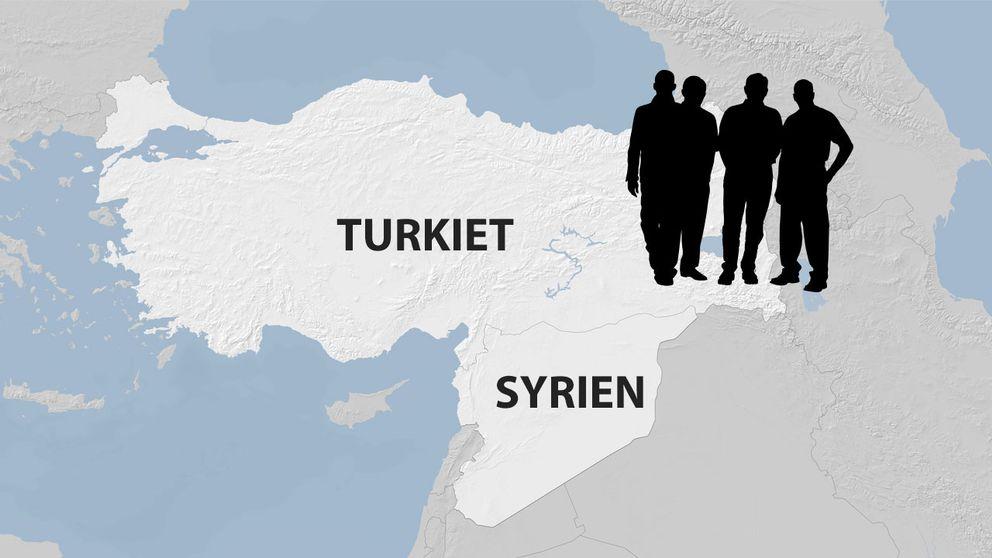 En kartbild på Turkiet och Syrien samt siluetten av fyra män.