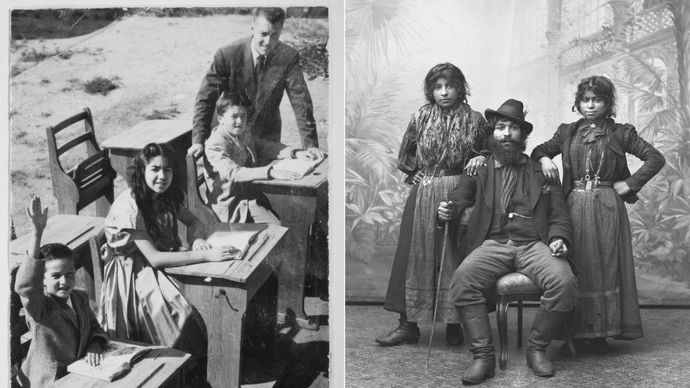 Bild till vänster: Hans Caldaras, Monica Caldaras, Kennet Caldaras och magister Pålsson. Bilden är tagen i Bulltofta, Malmö, 1954-1955. Bild till höger: Carolo och hans döttrar med okända namn, 1910.
