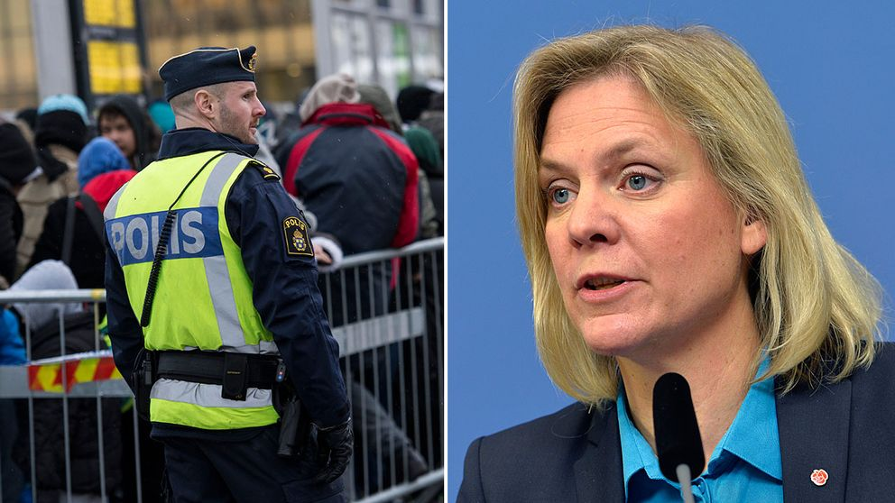 Polis vid gränskontroll i Hyllie och finansminister Magdalena Andersson (S).