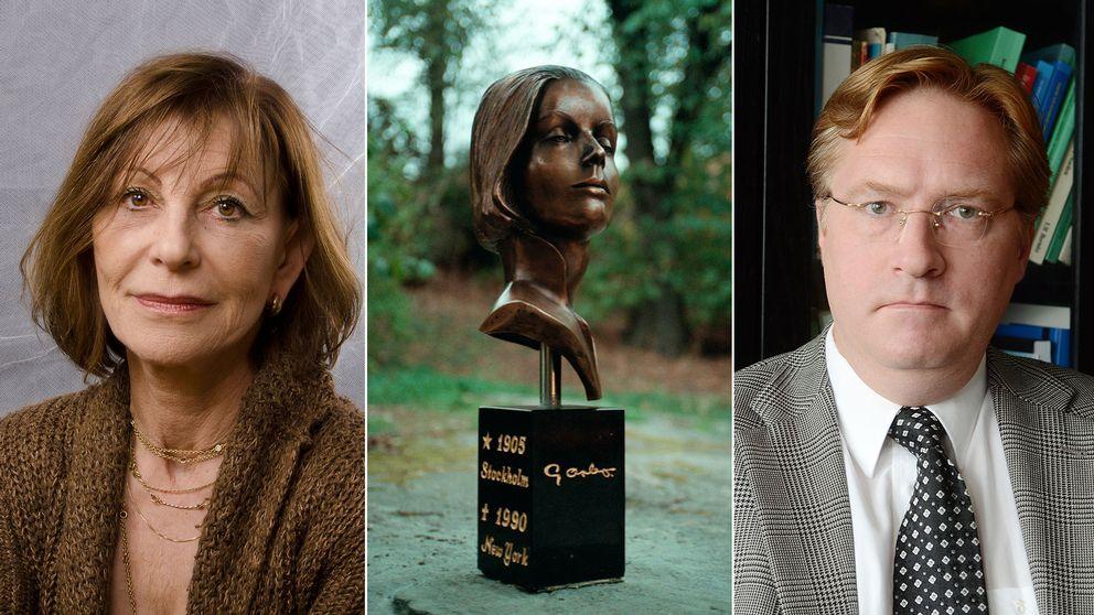 Professorerna Marianne Levin och Per Jonas Nordell är experter på juridik och upphovsrätt. Konstverket på bilden är Greta Garbos byst i Allhelgonalunden på söder i Stockholm.