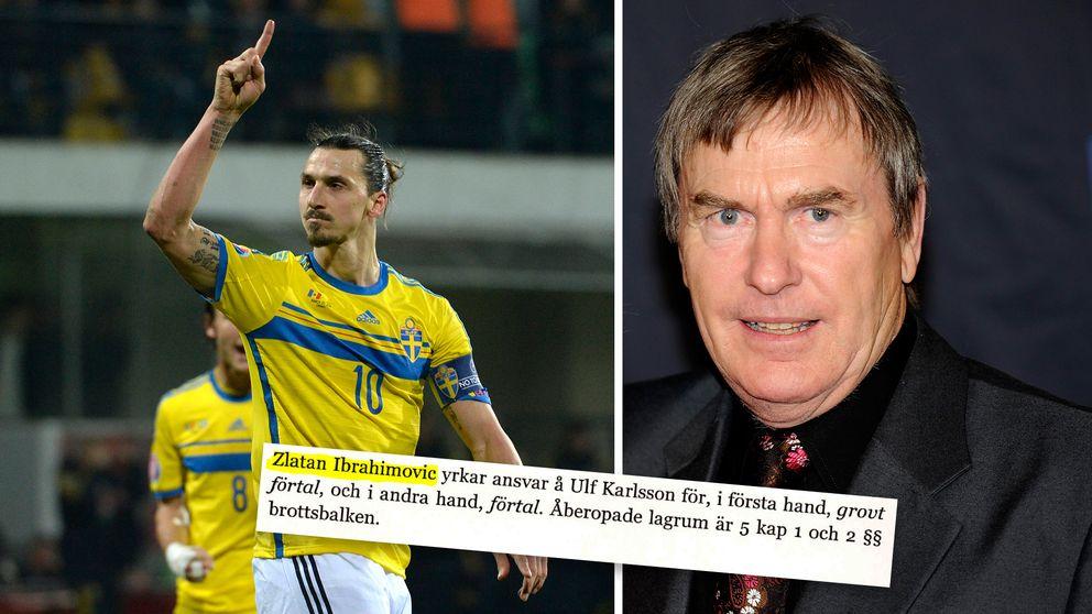 Zlatan Ibrahimovic och Ulf Karlsson. Skärmklipp från stämningsansökan.