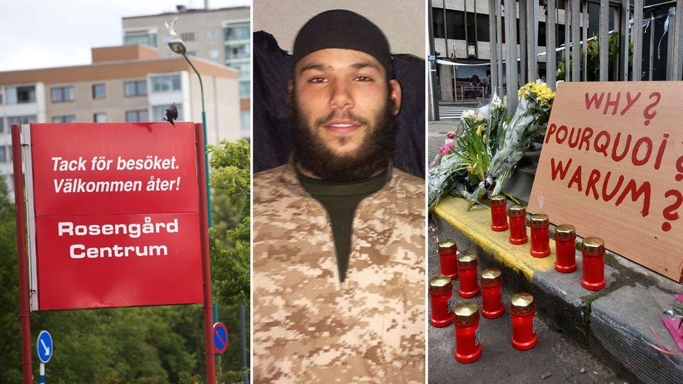 Osama Krayem bredvid bilder från Rosengård och Belgien.