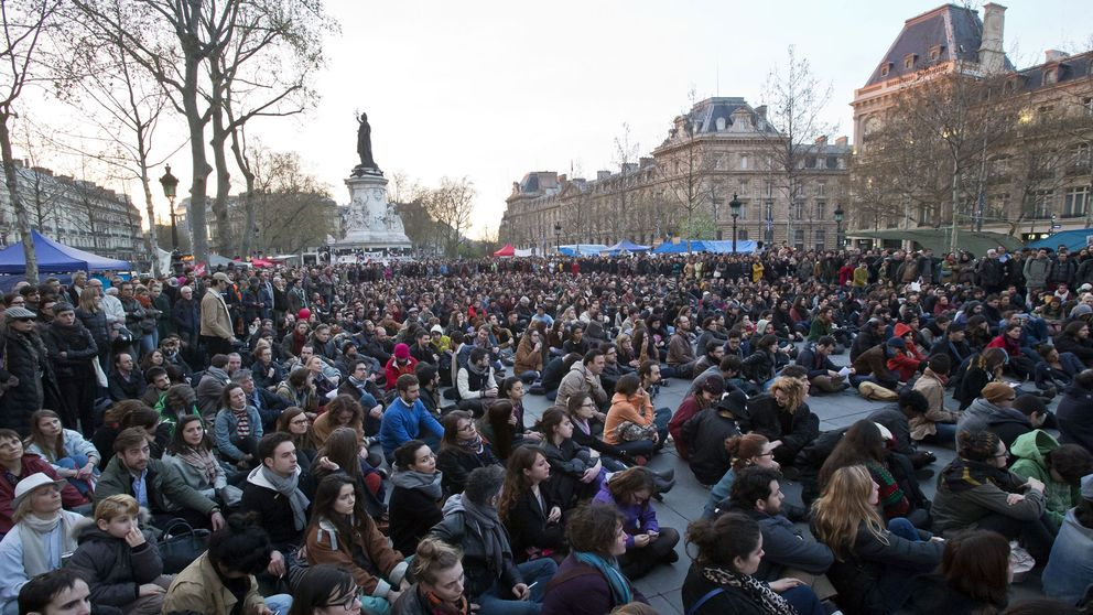 Protestmöte på Place de la Republique i Paris på onsdagen