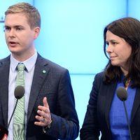 Gustav Fridolin och Åsa Romson på måndagens presskonferens.