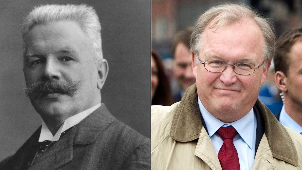 Statsministrarna Karl Staaff (L) och Göran Persson (S)
