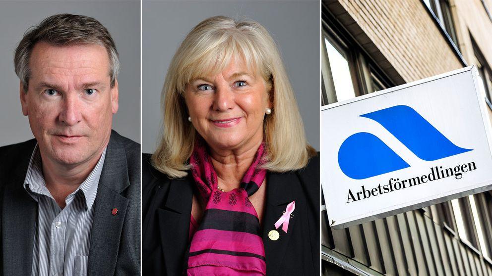 Raimo Pärssinen (S), ordförande för arbetsmarknadsutskottet och Katarina Brännström (M), riksdagsledamot i arbetsmarknadsutskottet