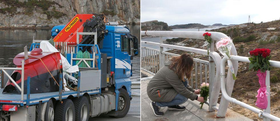 Delar av den störtade helikoptern fraktas bort från Turøy och en person lägger blommor för att hedra offren.