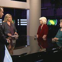 Jakop Dalunde, Karin Svensson Smith och Annika Eriksson från Miljöpartiet diskuterade språkrörens framtid i Agenda.