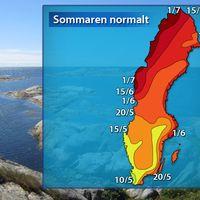 Sommarens normala ankomst (baserat på referensåren 1961–1990).
