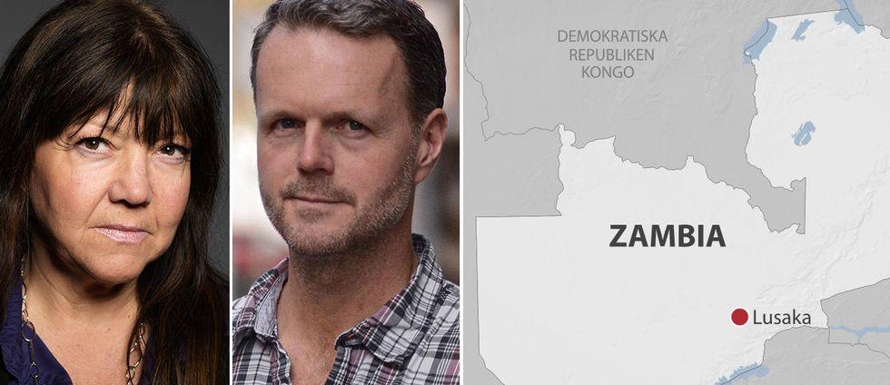 SVT-journalisterna Sophia Djiobaridis och Åke Wehrling och en karta på Zambia.