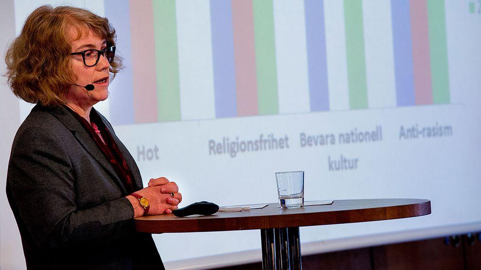 Marie Demker presenterar sin rapport 'Synen på invandrare och migration'.