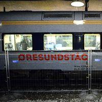 En tågvagn med texten Öresundståg