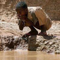 """""""Flodar blir till damm av torkan"""" varnar FN – här en pojke som dricker ur en """"damm"""" som byborna i Bur Dhuxunle i södra Somalia grävt ur."""