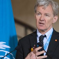 Jan Egeland som leder FN:s humanitära hjälpinsatser i Syrien.