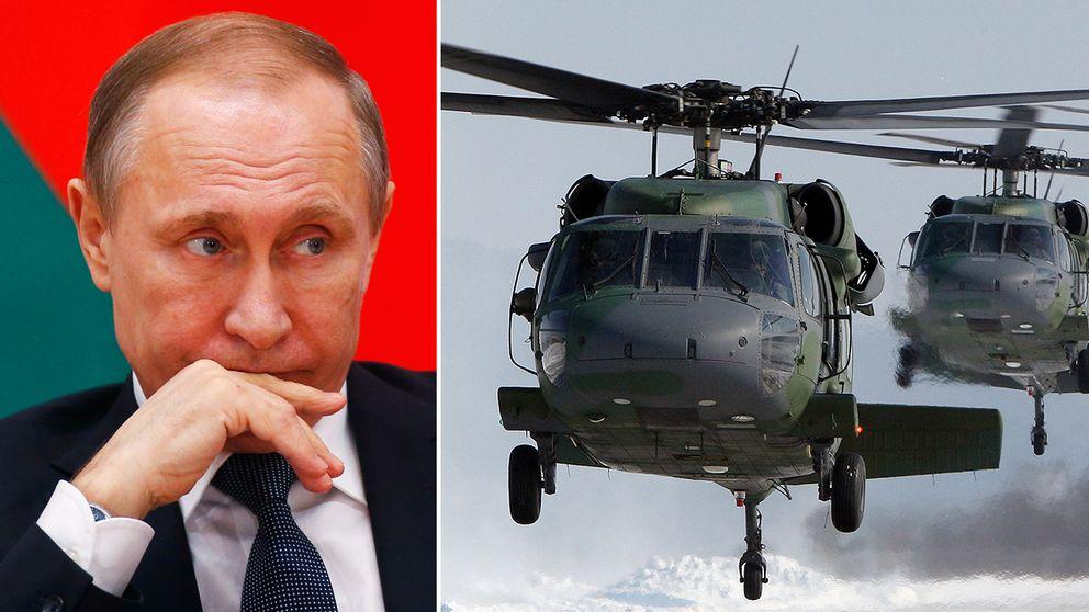 Rysslands president Putin och svenska militärhelikoptrar.