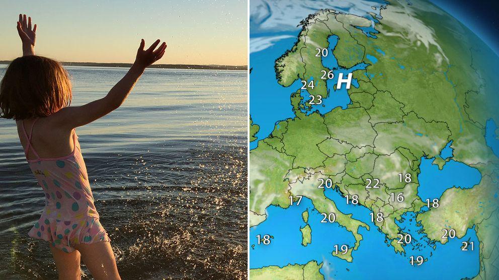 Flicka som badar och väderkarta.