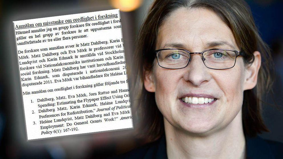 Eva Mörk, professor i nationalekonomi vid Uppsala universitet, anklagas för forskningsfusk.