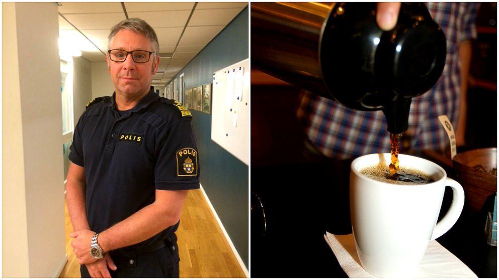 Polisen Michael Lindquist och en termos som fyller en kaffekopp.