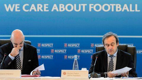 Fifas nuvarande president, Gianni Infantino, och den nu mutmisstänkte Michael Platini ledde tillsammans Uefa.