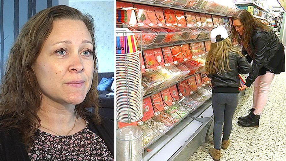 39-åriga Angelica Ortscheid. Angelica och hennes dotter vid godishyllan i affären.