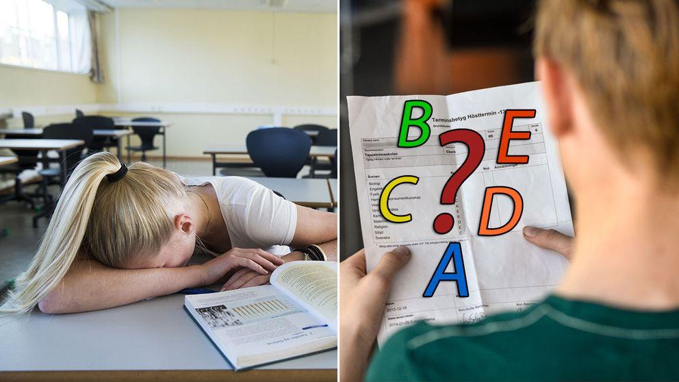 Elev som gör skoluppgift och en elev som tittar på sitt betyg.