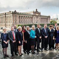 Så här såg statsminister Stefan Löfvens regering ut när den presenterades i början av oktober 2014. Nu är det snart dags för regeringsombildning.