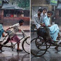 En av bilderna som påstås ha manipulerats av McCurry. Två av männen på cyklen är bortklippta.