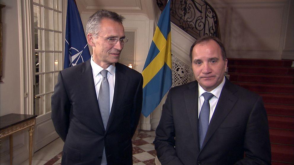 Natos generalsekreterare Jens Stoltenberg med statsminister Stefan Löfvén.