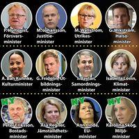 Karta över ministrarna i Stefan Löfvens regering efter den ombildning som nu presenterats.