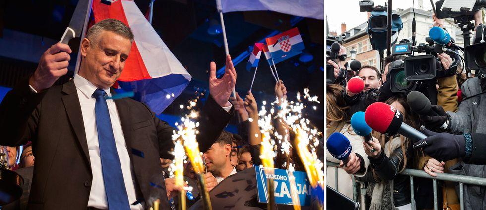 Kroatiens nya premiärminister Tomislav Karamarko vid valsegern 2015.