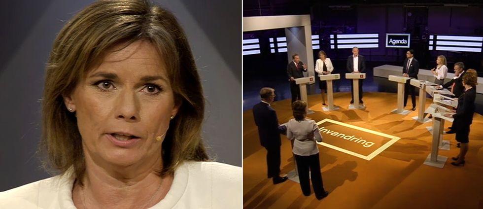 Isabella Lövin (MP) gjorde sin första partiledardebatt i SVT:s agenda.