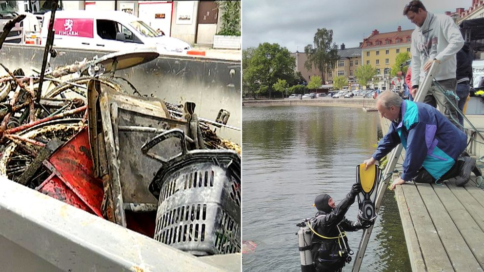 Dykare har hittat skräp på sjöbotten i centrala Södertälje.