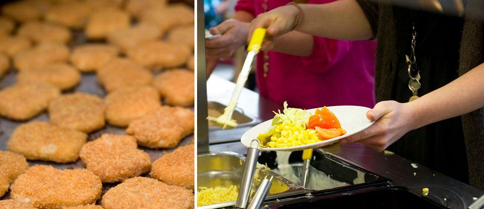Chicken nuggets och skolmatsal