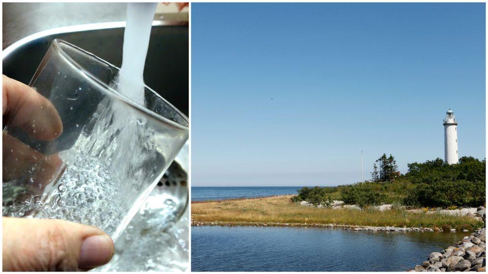 Vattenglas och bild på en fyr på Öland