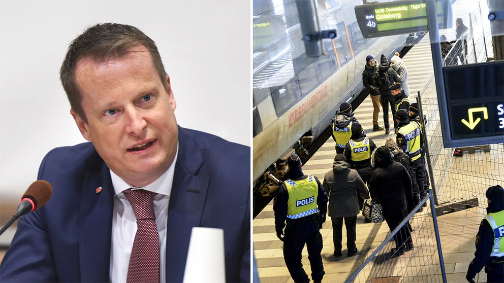 Anders Ygeman och gränskontroller på Hyllie i Malmö.