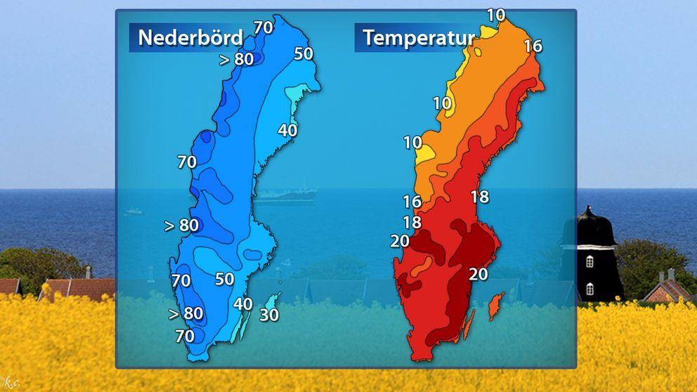 Normal uppmätt nederbörd och normaldygnets maximitemperaturi i juni.
